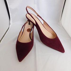 Kate Spade Shiloh Slingback Shoes Heels Maroon 8